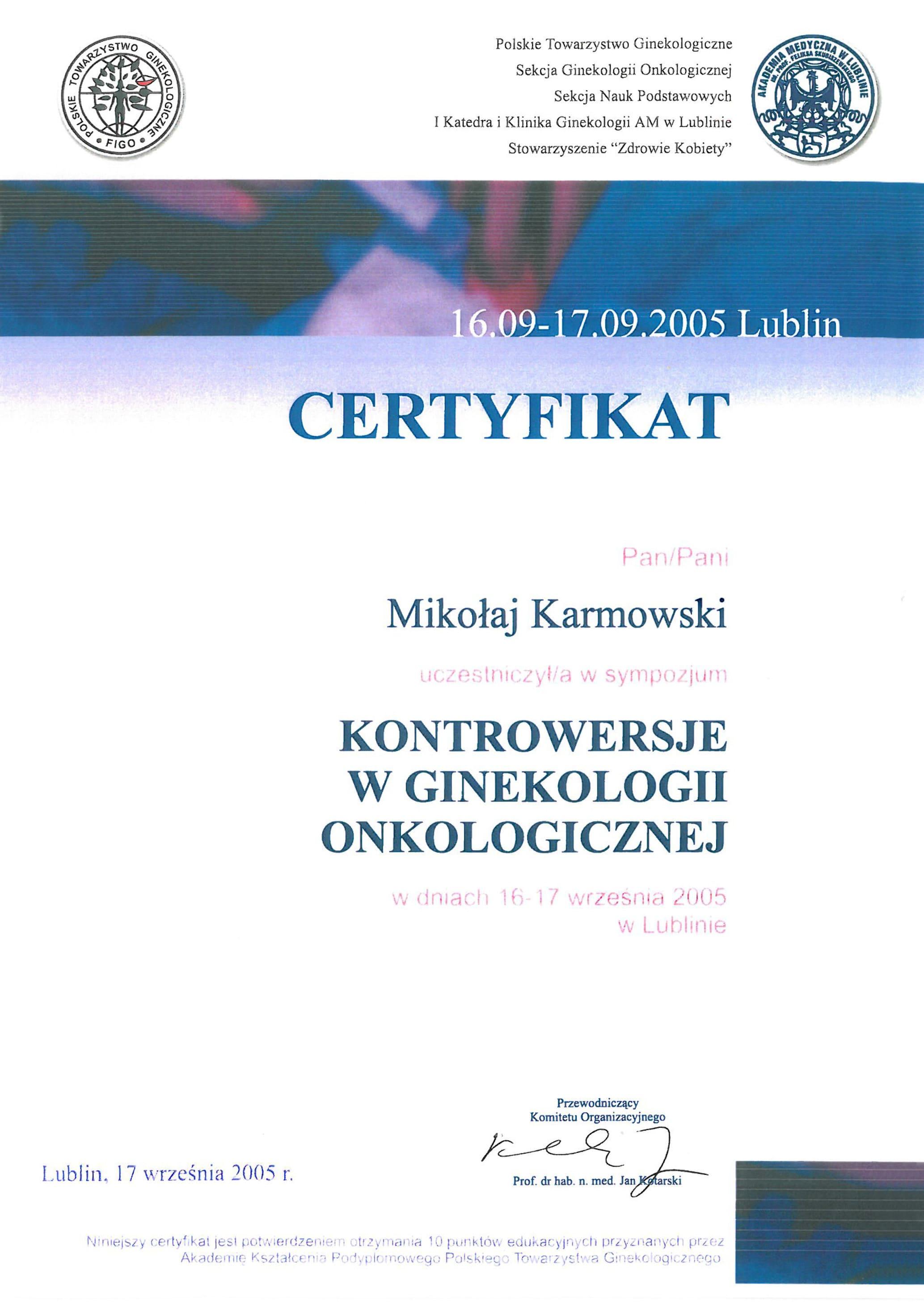 Mikołaj Karmowski certyfikat kontrowersje w ginekologii onkologicznej