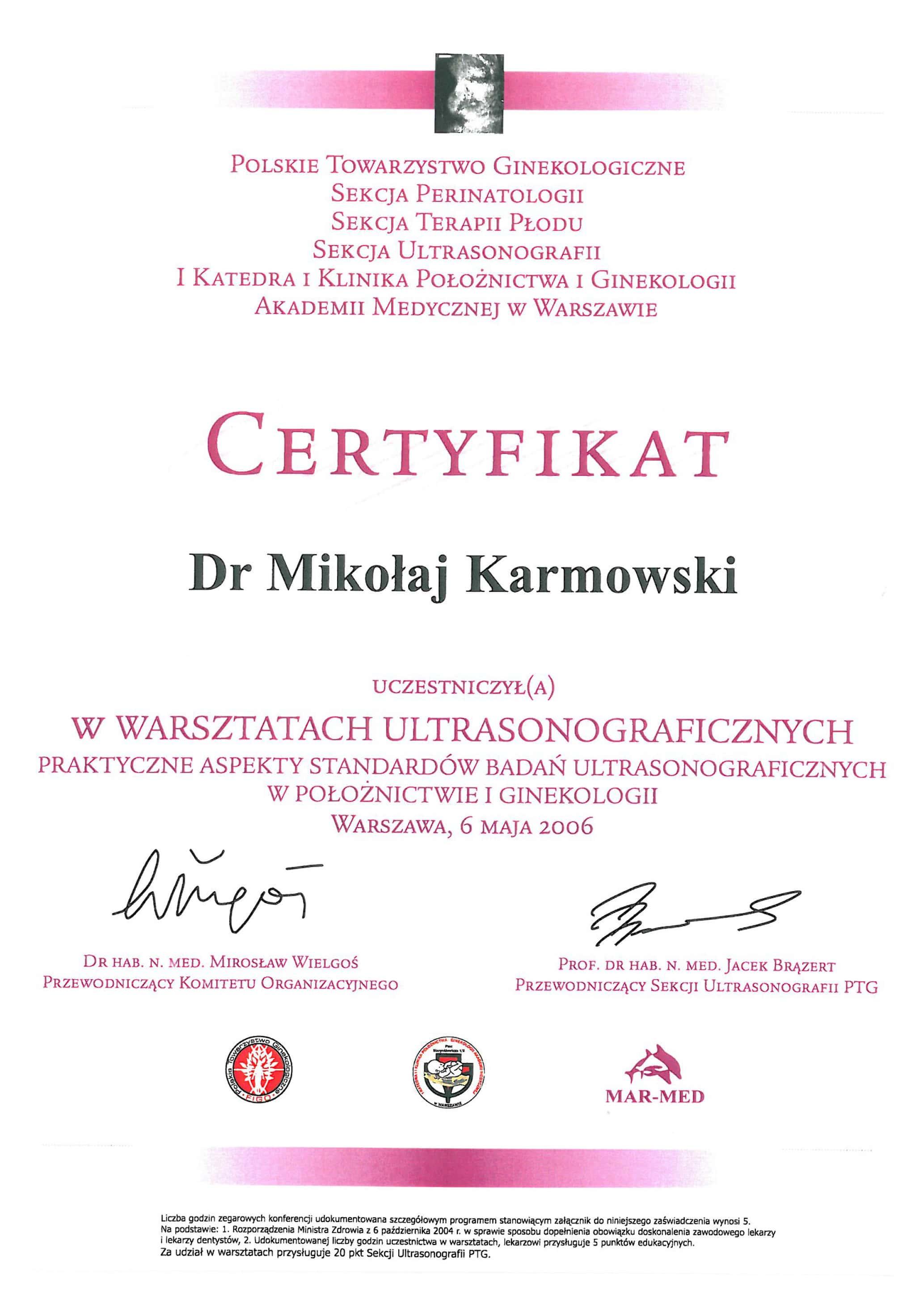 Mikołaj Karmowski certyfikat warsztaty ultrasonograficzne