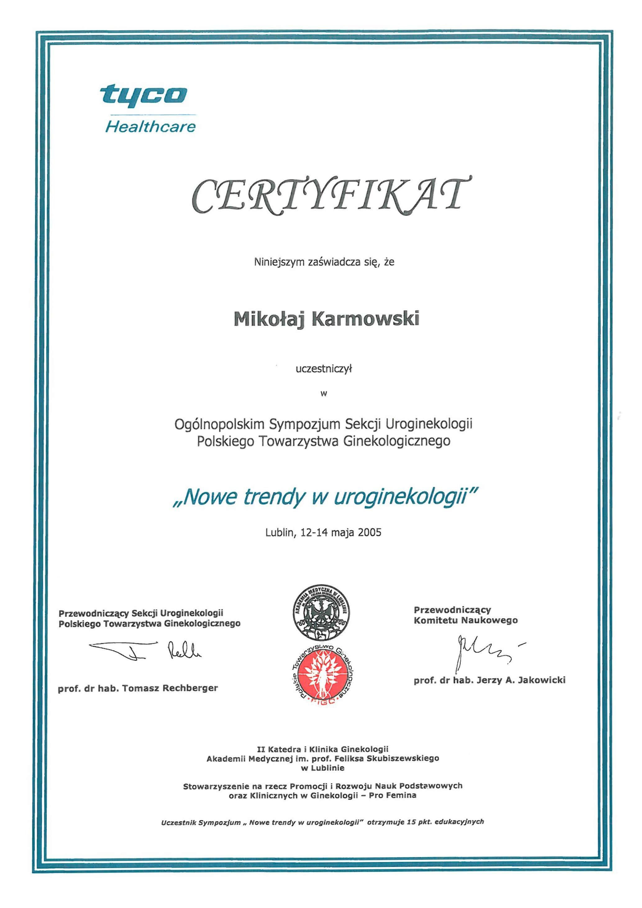 Mikołaj Karmowski certyfikat nowe trendy w uroginekologii