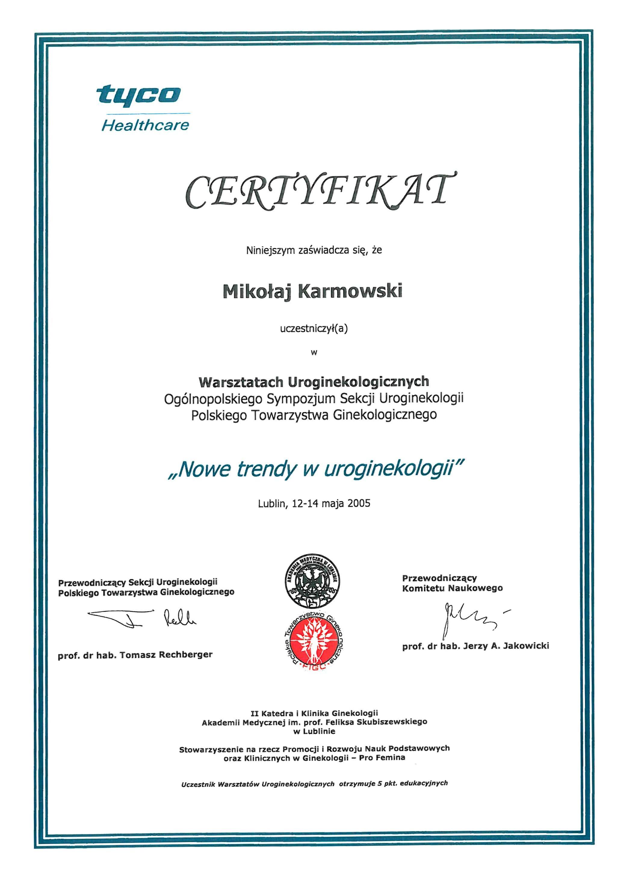 Mikołaj Karmowski certyfikat nowe trendy w ginekologii