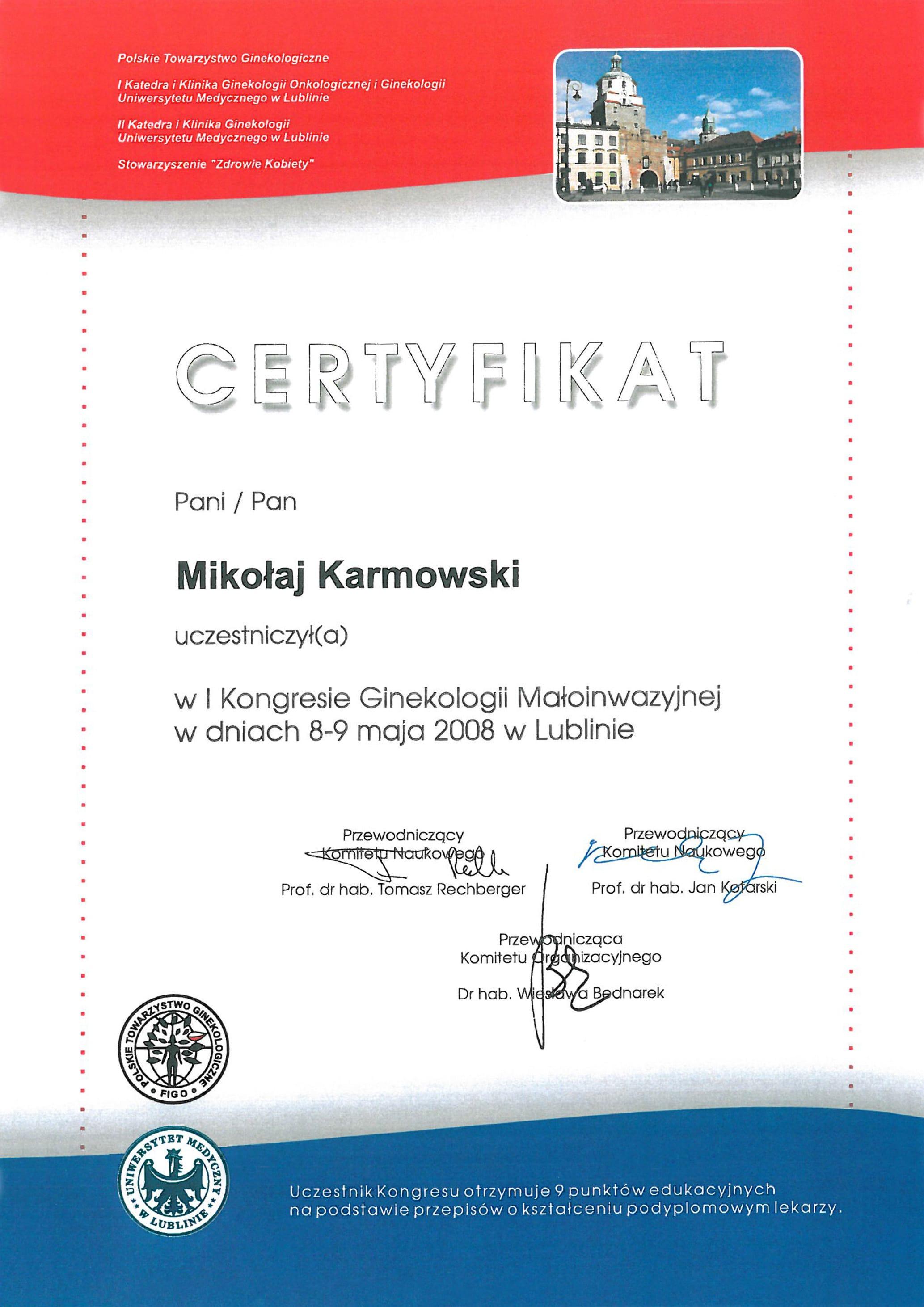 Mikołaj Karmowski certyfikat kongres ginekologii małoinwazyjnej