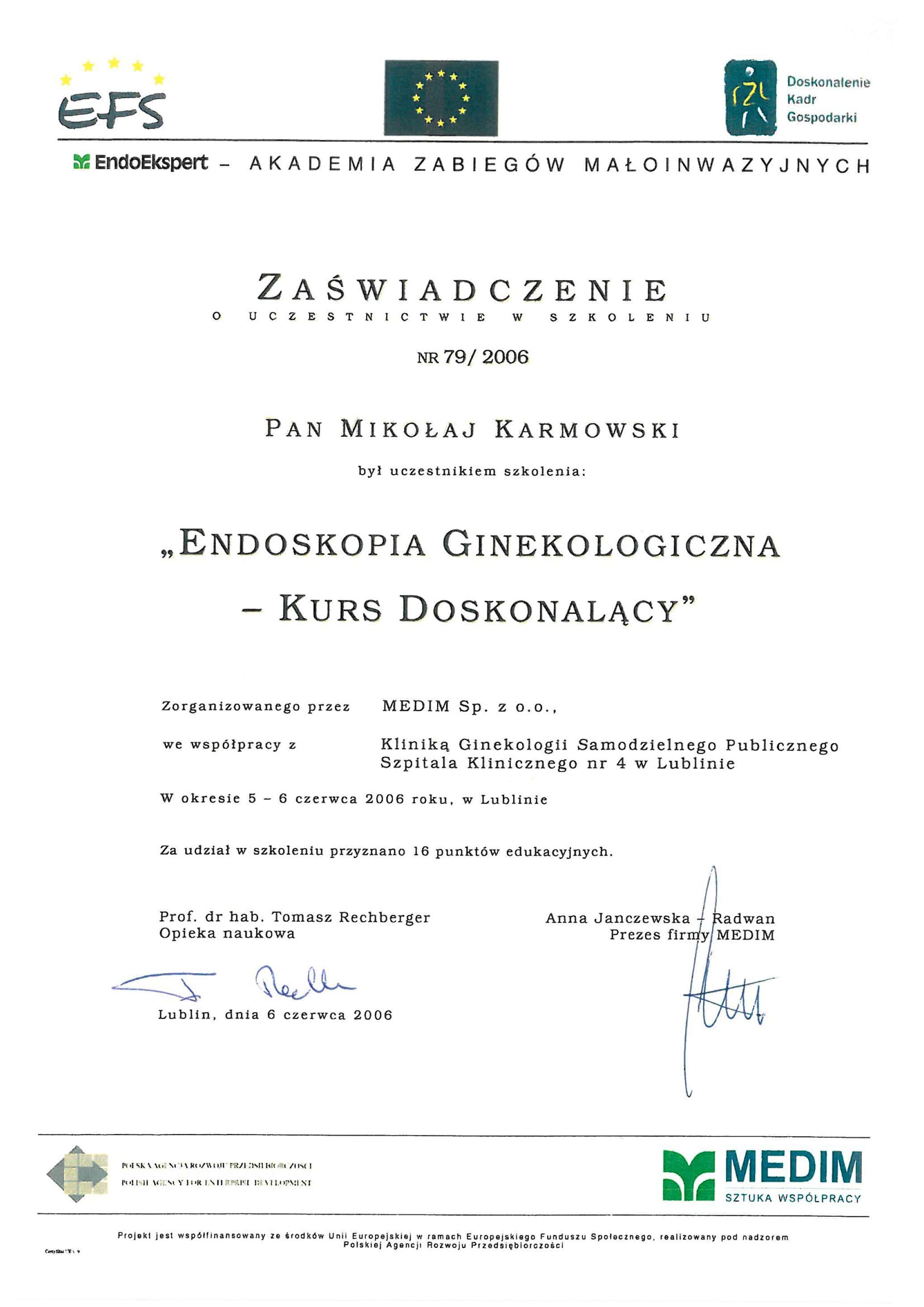 Mikołaj Karmowski certyfikat endoskopia ginekologiczna kurs doskonalący