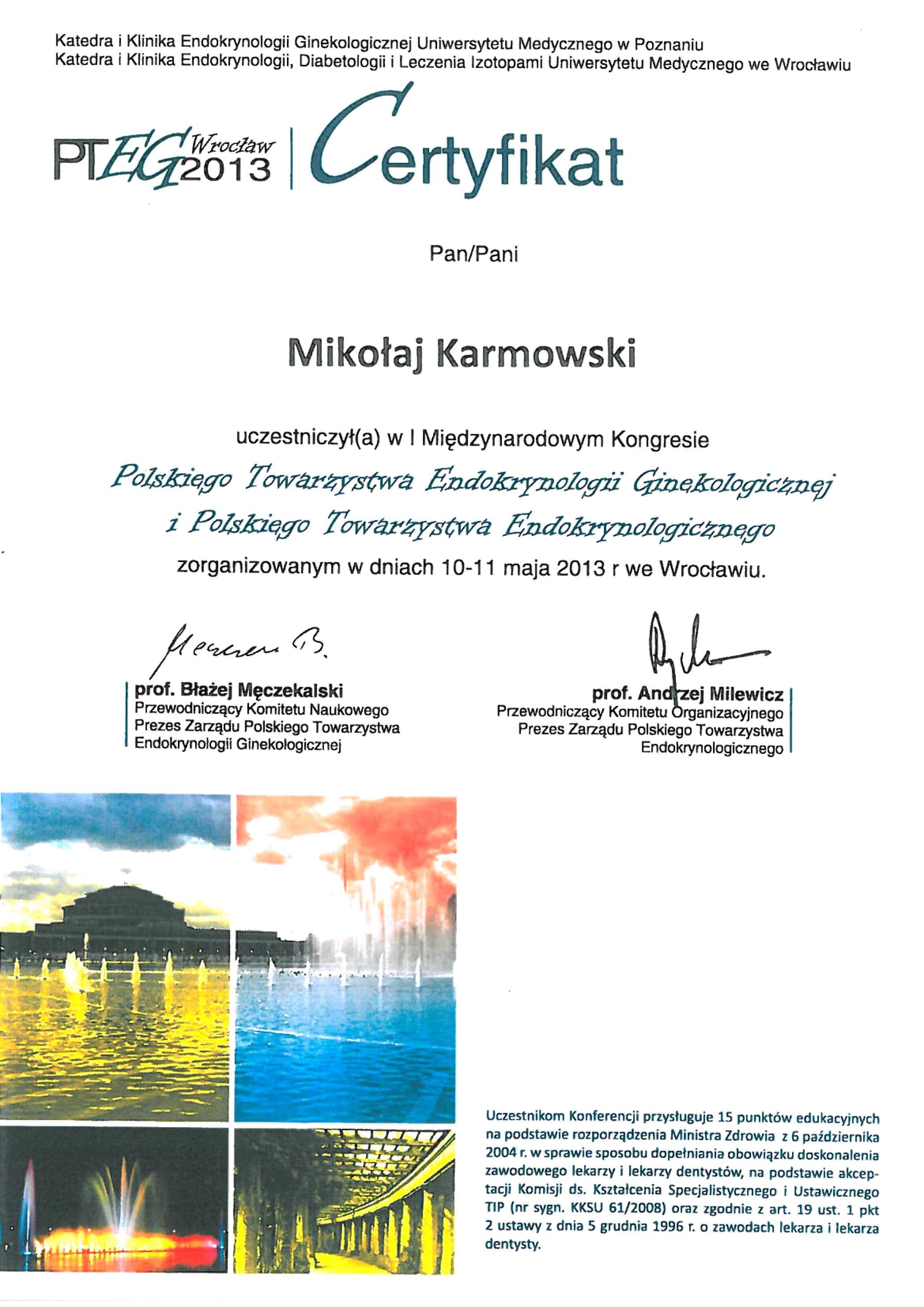 Mikołaj Karmowski certyfikat kongres polskiego towarzystwa endokrynologii ginekologicznej