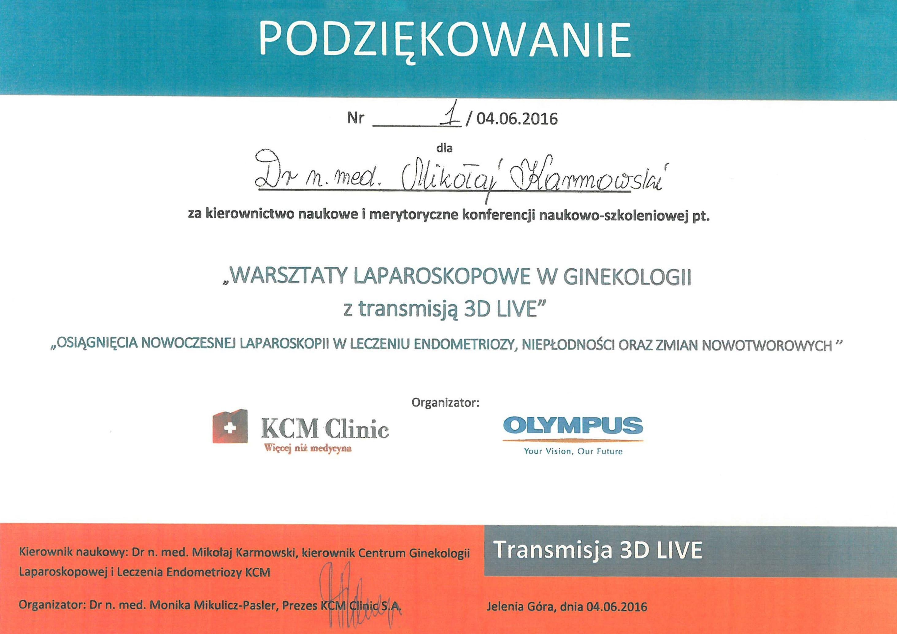 Mikołaj Karmowski certyfikat warsztaty laparoskopowe w ginekologii z transmisją 3D live